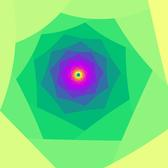 a fractal pattern composed of a straight edges spiral with multiple colours reducing away to a small central point