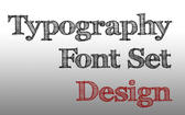 drawn lettering spelling out concepts related to type design, spelling the words typography font set and design