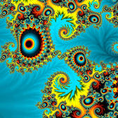 an unusual fractal pattern of seemingly random but mathematically seeded shapes and colours