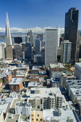 spectacular modern cityscape of san francisco on a clear sunny day