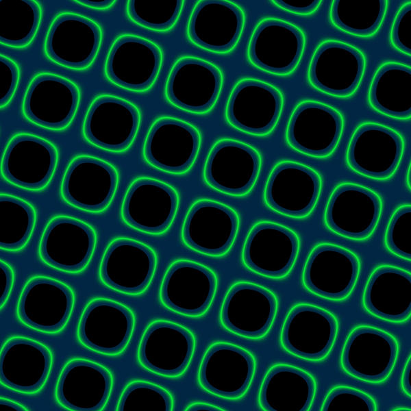 computer generated backdrop of green squares with glowing edges