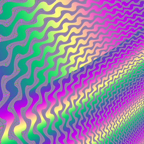 a bright and colourful computer generated background with a full spectrum of colours and twisting lines