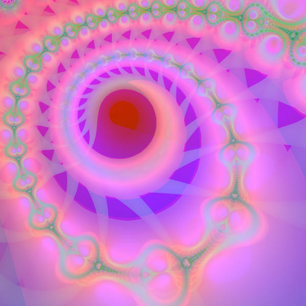 soft pink fractal pattern spiraling round a central point