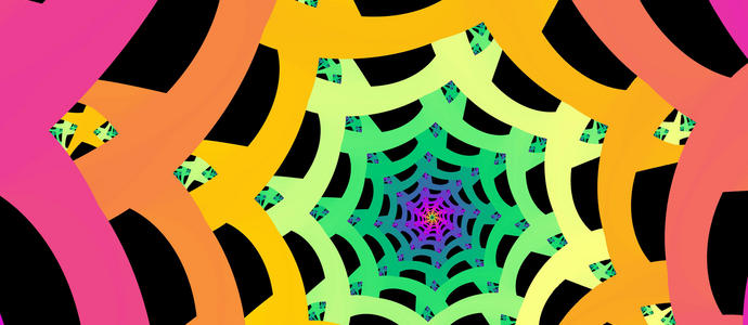 a spectrum of colours creating a web like tube vanishing to a central point