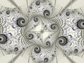 a black and white fractal with spiraliing lines and subtle blue highlights
