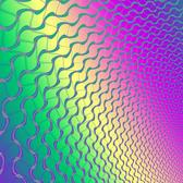 a rainbow coloured background with overlaid curved mesh