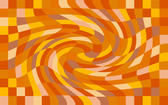 orange checked background with a twisting spiral distortion, halloween colour palette