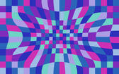 colourful checked background with sunken 'pinch' distortion