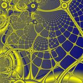 a futuristic looking fractal graphic, a mesh of yellow and blue rounded bars