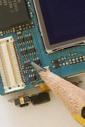 Microelectronics - the Circuit board from a mobile phone