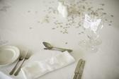 a white wedding breakfast table setting