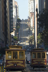 california street cable cars looking up the hill, san francisco