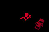 Illuminated red warning signs on a car dashboard for the airbag and an open door , with copyspace