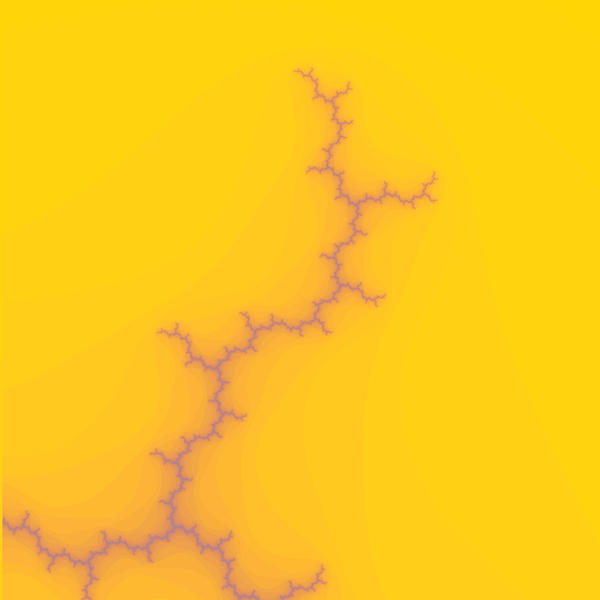 fractal pattern resembling a growing crack on a yellow orange background