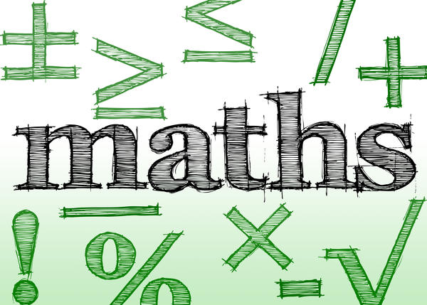 hand drawn effect lettering spelling maths and various mathematics related symbols