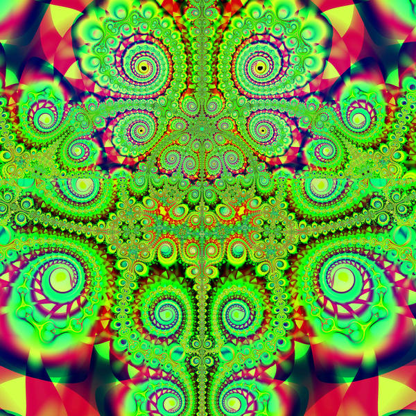 a gaudy red and green fractal pattern