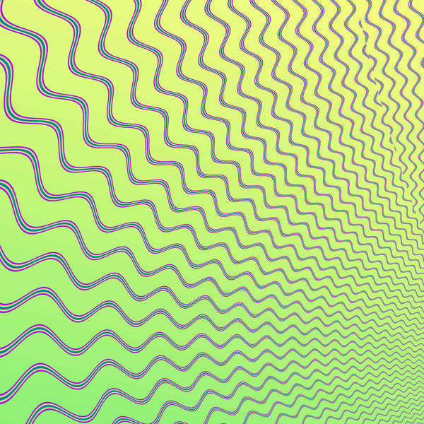 a green background with expanding wave shapes that creates an op-art visual effect
