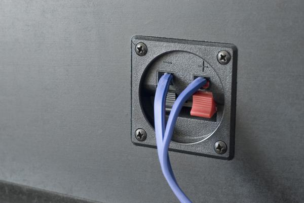 Speaker wires connected to spring loaded terminals on the back of a speaker cabinet