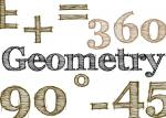 handdrawn effect type spelling the word Geometry surrounded by various mathematical symbols and numbers and angles