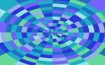 checked background wrapped into a circle featuring blue purple and green tiles