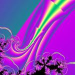 a fractal composition of colourful arrows spreading out into floral like mandelbrot patterns