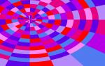 concentric circles and lines emanating from a central point, colourful background of pink and purple colours